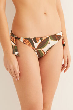 Womensecret Reversible leaf print bikini bottoms green