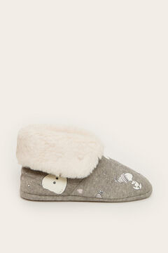 Womensecret Snoopy teddy fur slipper boot grey