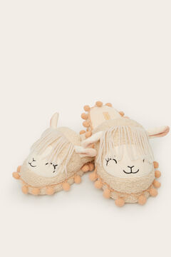 Womensecret 3D llama slingback slippers beige