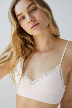 Womensecret Pink seamless sustainable top with lace pink