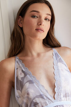 Womensecret Long floral chiffon nightgown blue