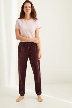 Womensecret Pantalon velours extensible Super Comfort grenat imprimé