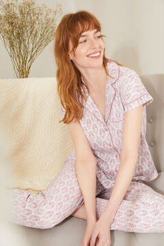 Womensecret Classic long pink 100% sustainable cotton pyjamas pink