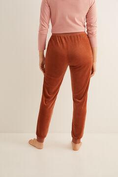 Womensecret Pantalon long velours brique nude