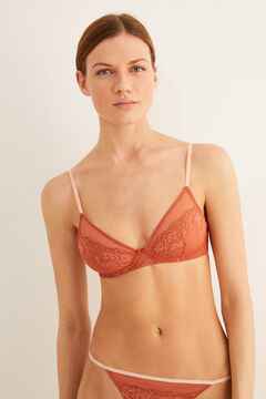 Womensecret Lace and tulle triangle bra red