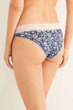 Womensecret Lace waist detail classic cotton panty blue