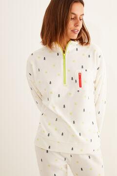 Womensecret Langer Fleece-Pyjama Reißverschluss weiß