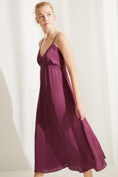 Womensecret Camisa de dormir comprida cetim beringela rosa