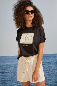 Womensecret T-shirt Snoopy doubles manches courtes noir