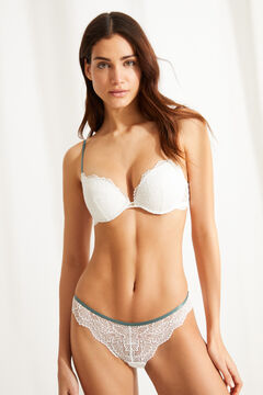 Womensecret GORGEOUS White cotton and lace push-up bra white