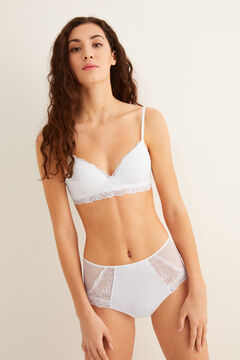 Womensecret Triangular mesh and lace bra white