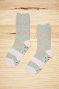 Womensecret Fluffy green striped socks green