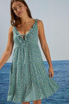 Womensecret Sustainable flowers short dress blue