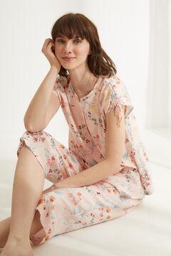 Womensecret Pink floral classic capri pyjamas white