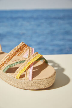 Womensecret Multicoloured raffia wedge sandal white