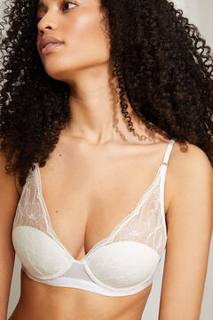 Womensecret INTUITIVE White lace and cotton padded underwired halterneck bra white