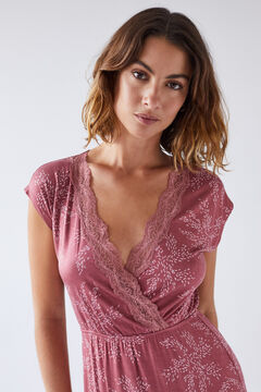 Womensecret Printed pink lace midi nightgown red