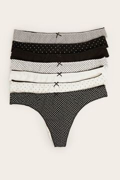 Womensecret 7-pack black & white cotton tangas black