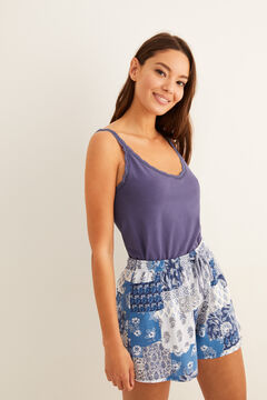 Womensecret Short patchwork print pyjamas blue