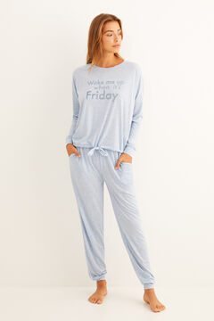 "Womensecret Long blue ""Wake me up when it's Friday"" pyjamas blue"