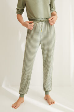Womensecret Striped green jogging bottoms printed