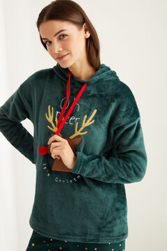 Womensecret Pijama largo polar reno verde