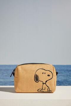 Womensecret Snoopy raffia vanity case beige