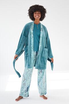 Womensecret Coordonné short blue velvet robe green
