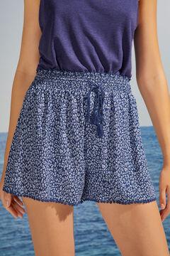 Womensecret Pantalon court animal print bleu bleu