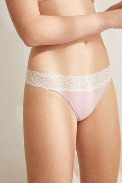 Womensecret Organic cotton lace tanga pink