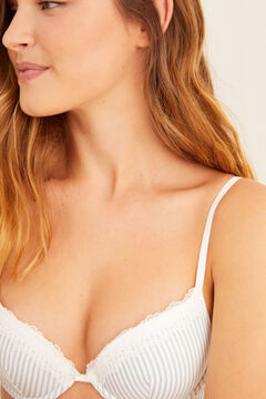 Womensecret Classic striped organic cotton bra blue