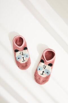 Womensecret Fluffy pink panda ankle socks pink