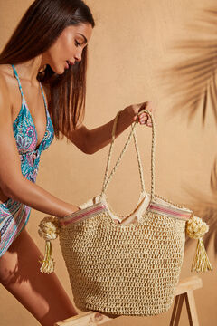 Womensecret Raffia bag long strap nude