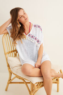 Womensecret Embroidered fringed tunic beige