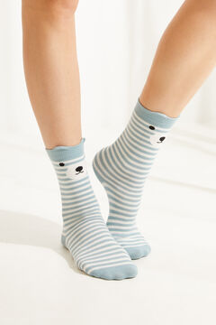 Womensecret Közepes hosszúságú, macimintás kék zoknik, 3 db-os csomag rávasalt mintás