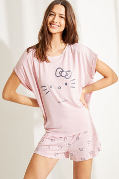 Womensecret Kurzer Pyjama Hello Kitty Rosa Grau