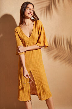 Womensecret V-neck flared sleeves dress yellow