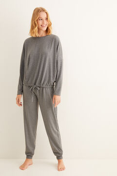 Womensecret Long grey textured pyjamas grey
