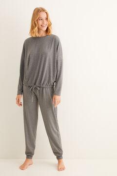 Womensecret Hosszú, szürke, textúrált pizsama szürke
