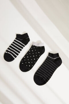 Womensecret Pack of 3 black printed mid-length socks black