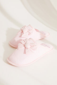 Womensecret Pink plumetis knot slippers pink