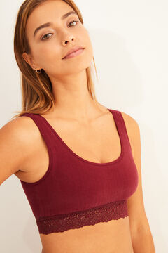 Womensecret Maroon cotton top with lace detail red