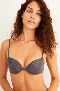 Womensecret Plumetis and lace underwired grey bra grey