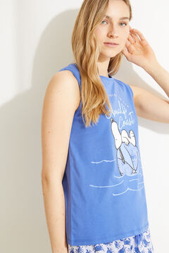 Womensecret Short Snoopy 100% cotton vest pyjamas blue