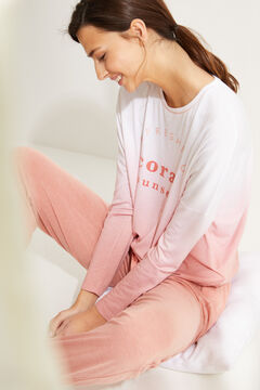 Womensecret Long pink super soft jersey-knit long-sleeved pyjamas pink
