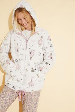 Womensecret Robe de chambre courte polaire fermeture glissière Snoopy nude