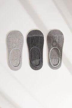Womensecret Pack de 3 calcetines invisibles gris gris