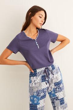 Womensecret Long patchwork print pyjamas blue