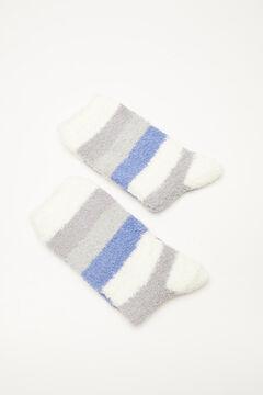 Womensecret Fluffy blue striped socks blue