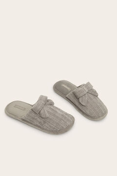 Womensecret Grey bow chenille slippers grey